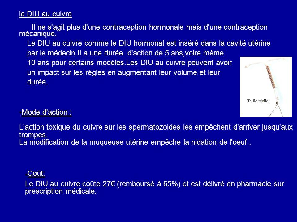 le DIU au cuivre Il ne s agit plus d une contraception hormonale mais d une contraception mécanique.
