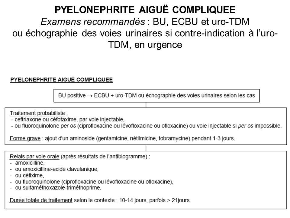 PYELONEPHRITE AIGUË COMPLIQUEE Examens recommandés : BU, ECBU et uro-TDM ou échographie des voies urinaires si contre-indication à l'uro-TDM, en urgence