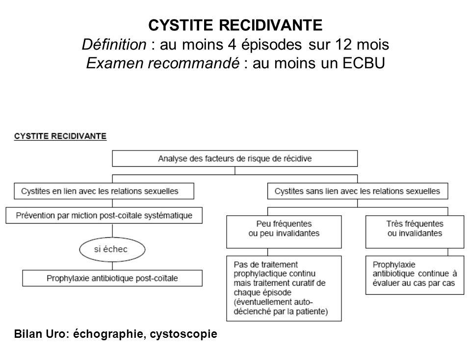 CYSTITE RECIDIVANTE Définition : au moins 4 épisodes sur 12 mois Examen recommandé : au moins un ECBU