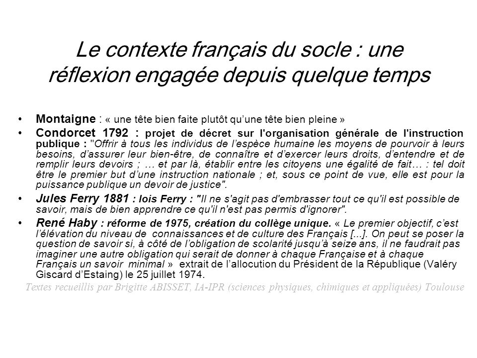 Le contexte français du socle : une réflexion engagée depuis quelque temps
