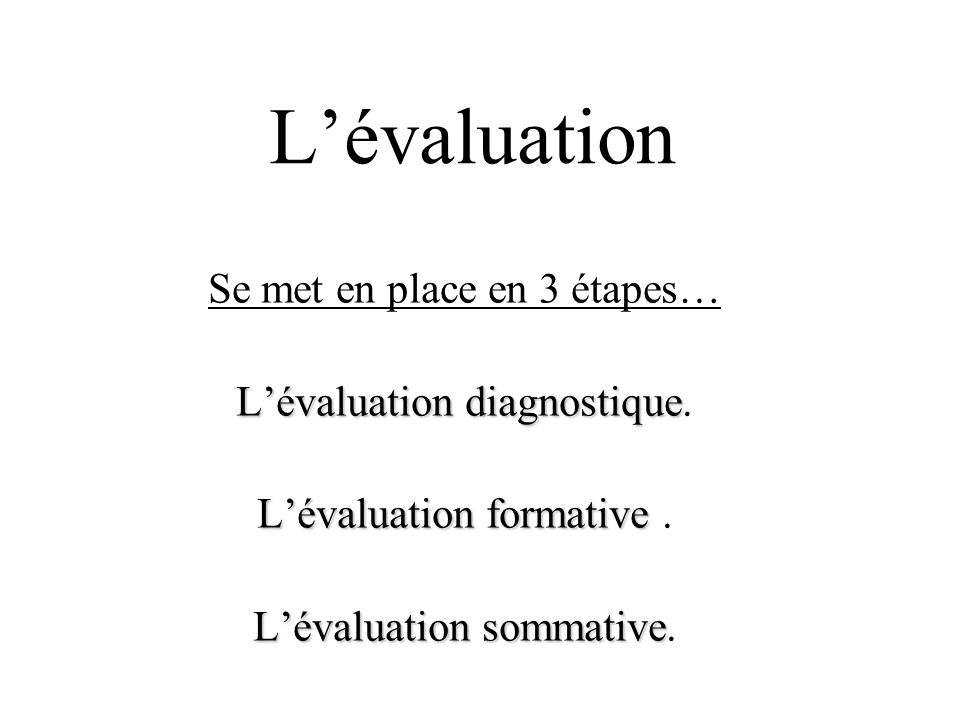 L'évaluation Se met en place en 3 étapes… L'évaluation diagnostique.