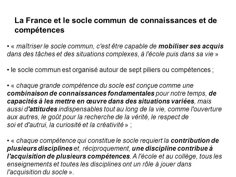 La France et le socle commun de connaissances et de compétences