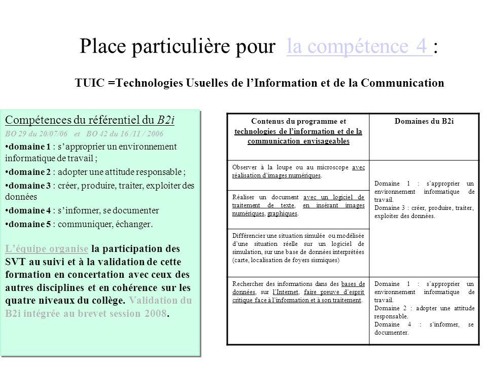 Place particulière pour la compétence 4 : TUIC =Technologies Usuelles de l'Information et de la Communication
