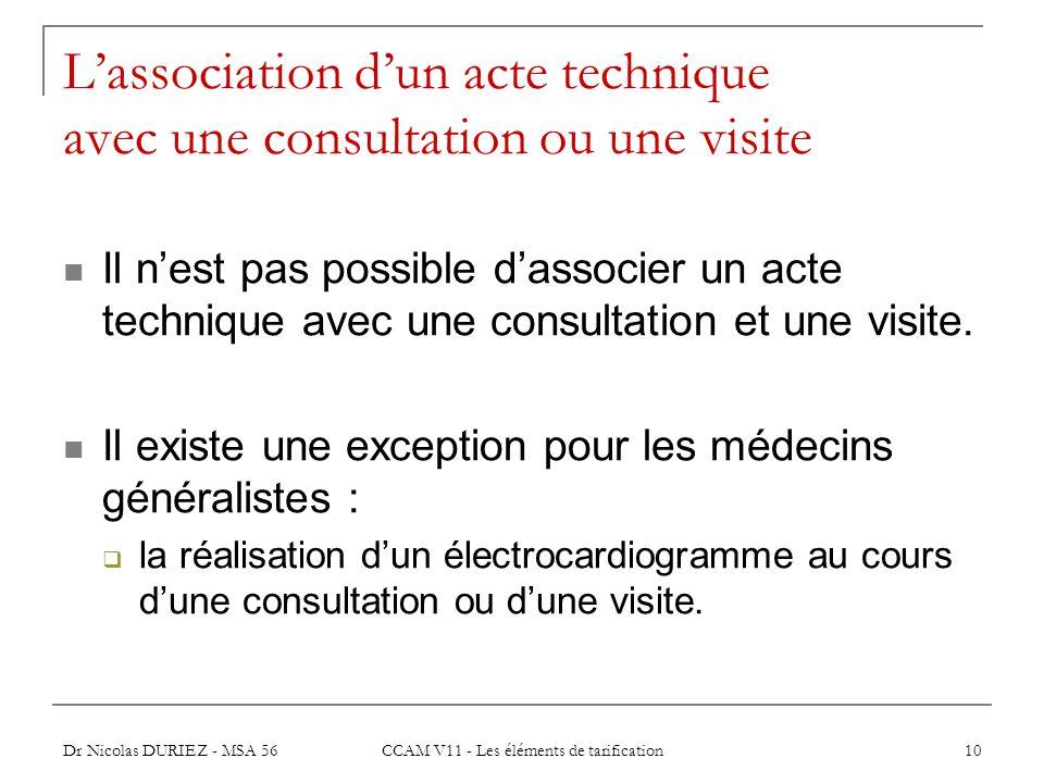L'association d'un acte technique avec une consultation ou une visite