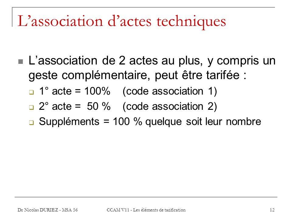 L'association d'actes techniques