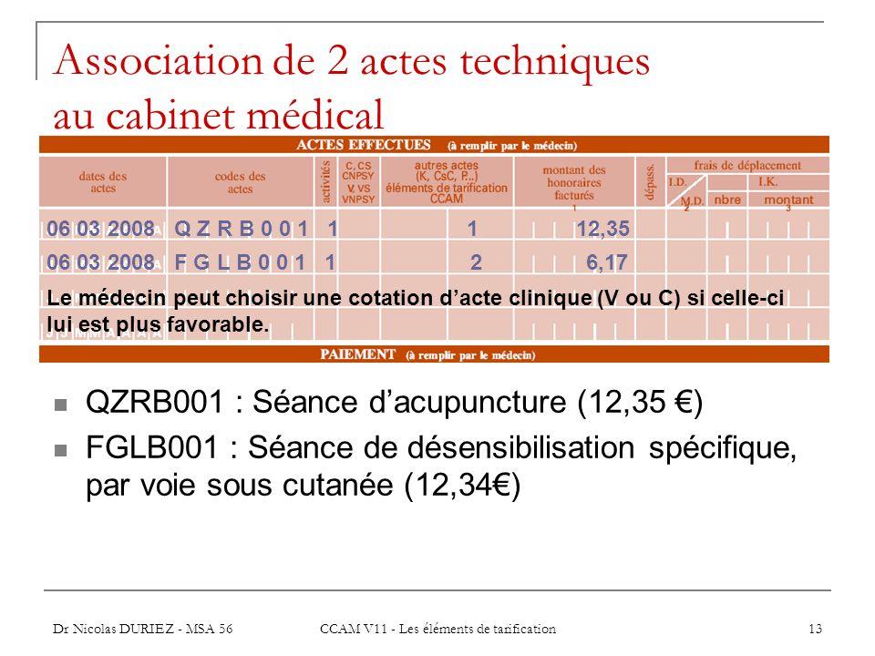 Association de 2 actes techniques au cabinet médical