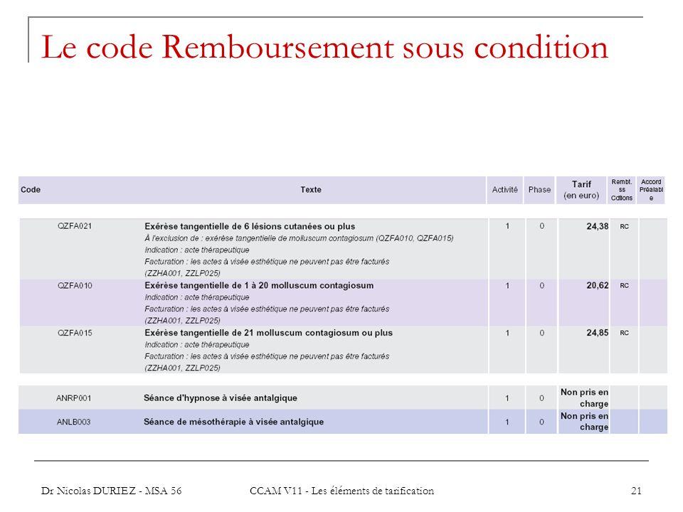 Le code Remboursement sous condition
