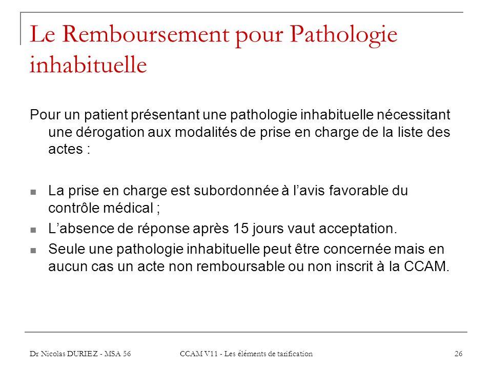 Le Remboursement pour Pathologie inhabituelle