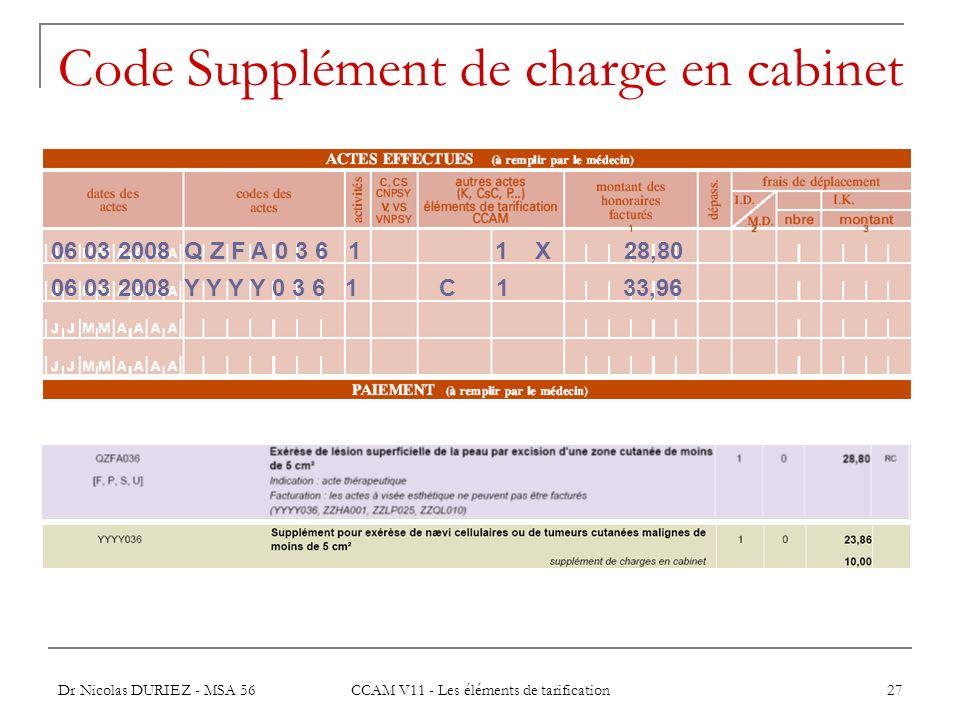 Code Supplément de charge en cabinet