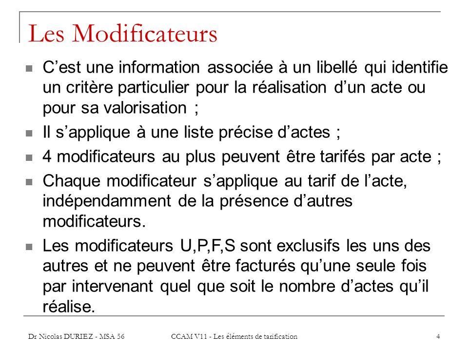 CCAM V11 - Les éléments de tarification