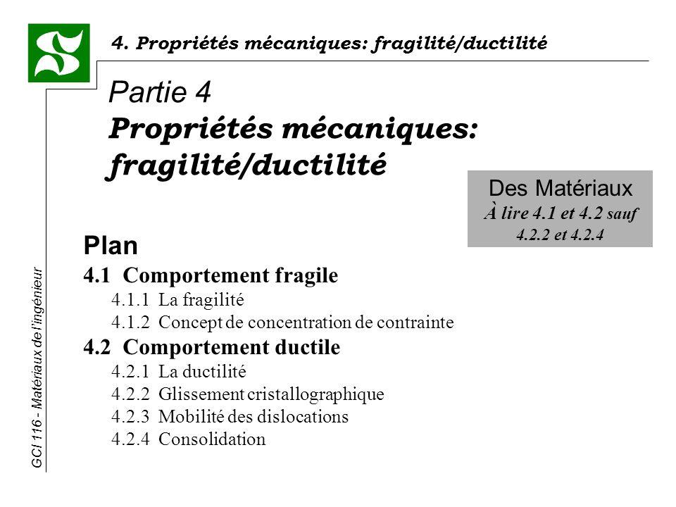 Propriétés mécaniques: fragilité/ductilité