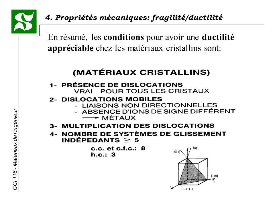 En résumé, les conditions pour avoir une ductilité appréciable chez les matériaux cristallins sont: