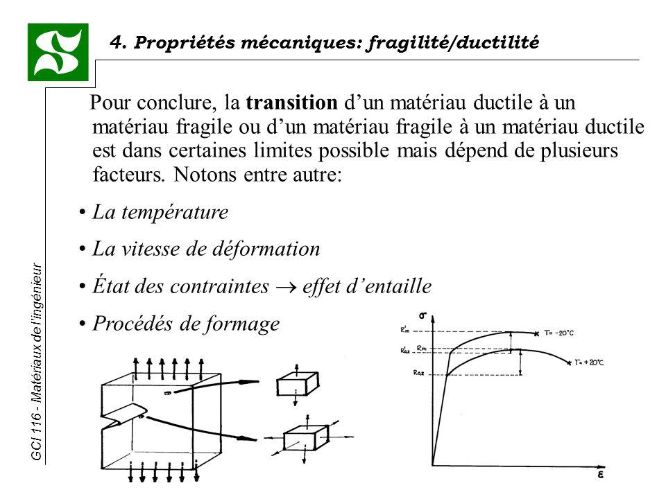 Pour conclure, la transition d'un matériau ductile à un matériau fragile ou d'un matériau fragile à un matériau ductile est dans certaines limites possible mais dépend de plusieurs facteurs. Notons entre autre:
