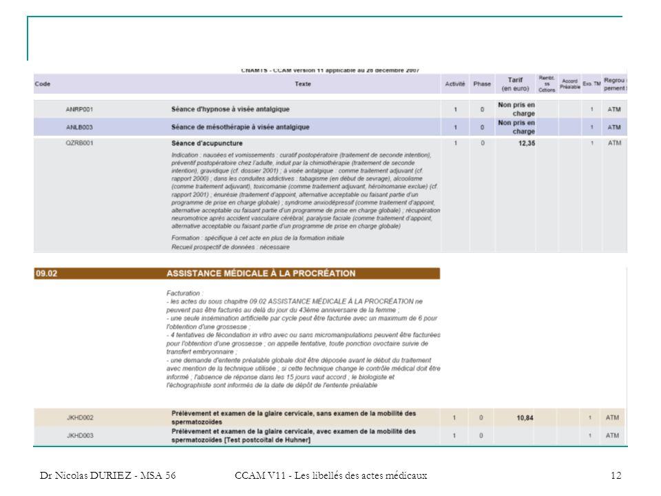 CCAM V11 - Les libellés des actes médicaux