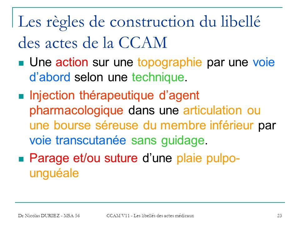 Les règles de construction du libellé des actes de la CCAM