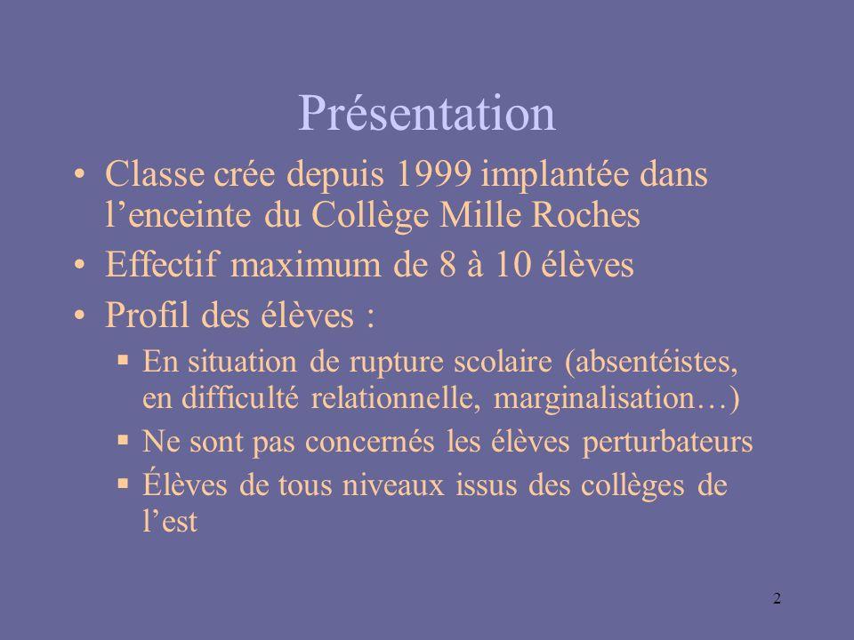 Présentation Classe crée depuis 1999 implantée dans l'enceinte du Collège Mille Roches. Effectif maximum de 8 à 10 élèves.