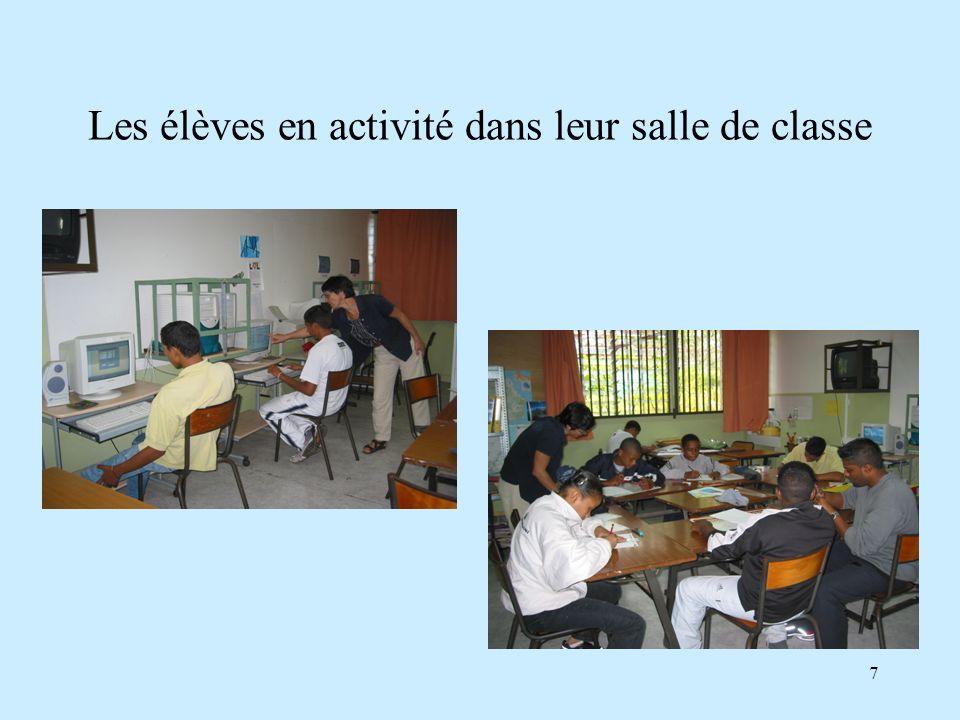 Les élèves en activité dans leur salle de classe