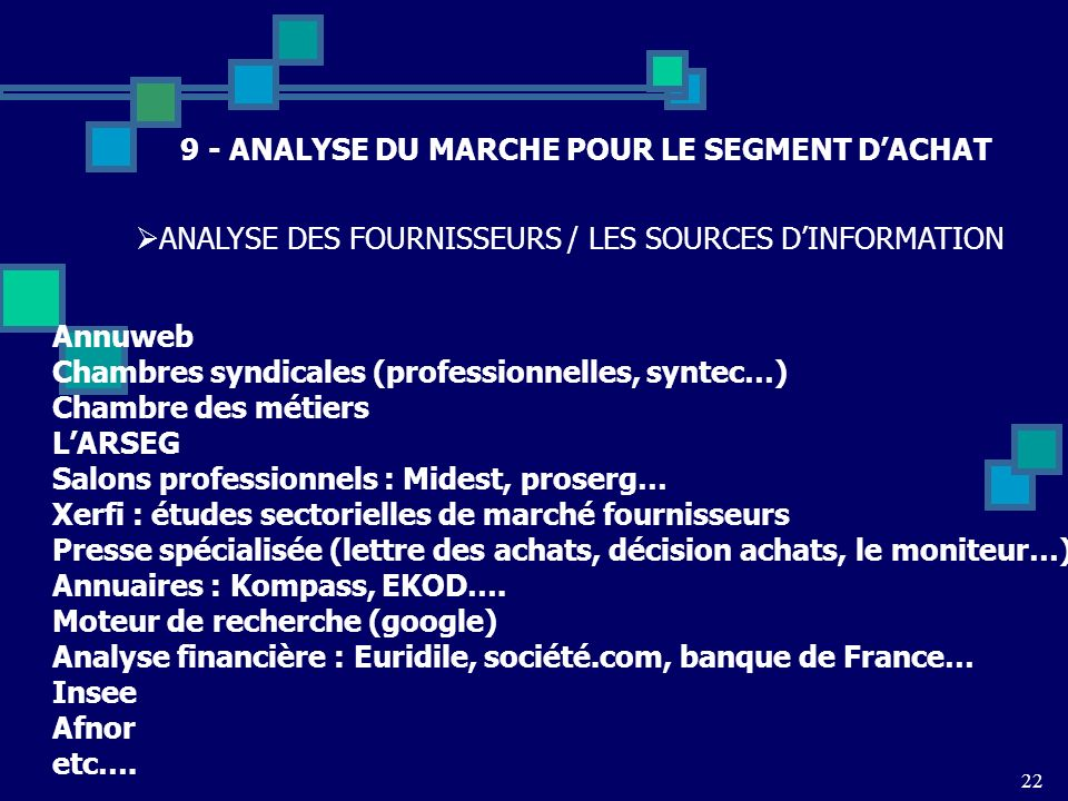 9 - ANALYSE DU MARCHE POUR LE SEGMENT D'ACHAT