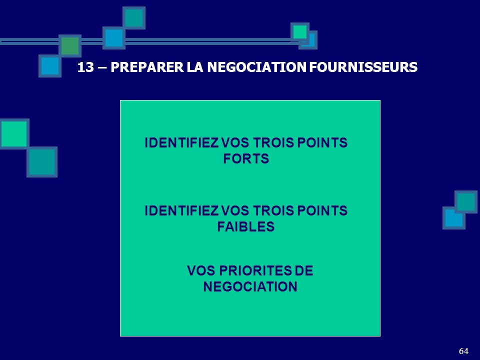 13 – PREPARER LA NEGOCIATION FOURNISSEURS