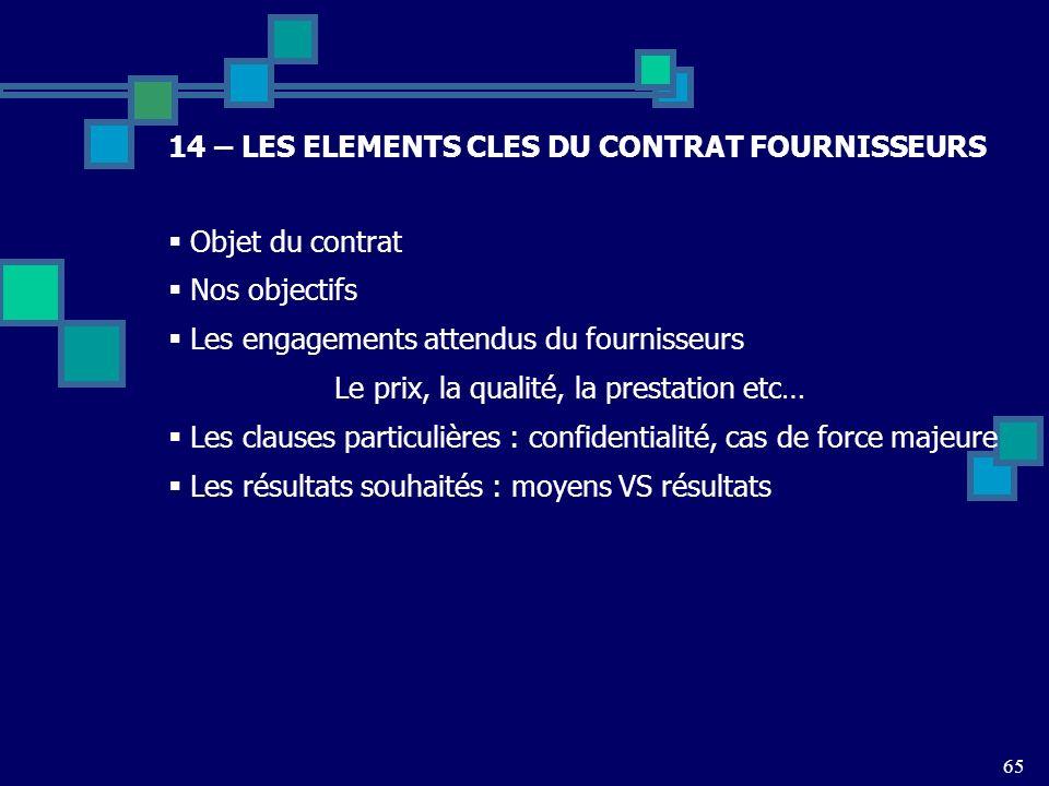 14 – LES ELEMENTS CLES DU CONTRAT FOURNISSEURS