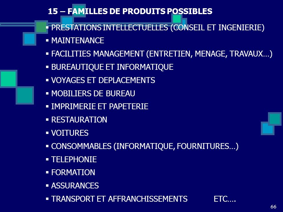 15 – FAMILLES DE PRODUITS POSSIBLES