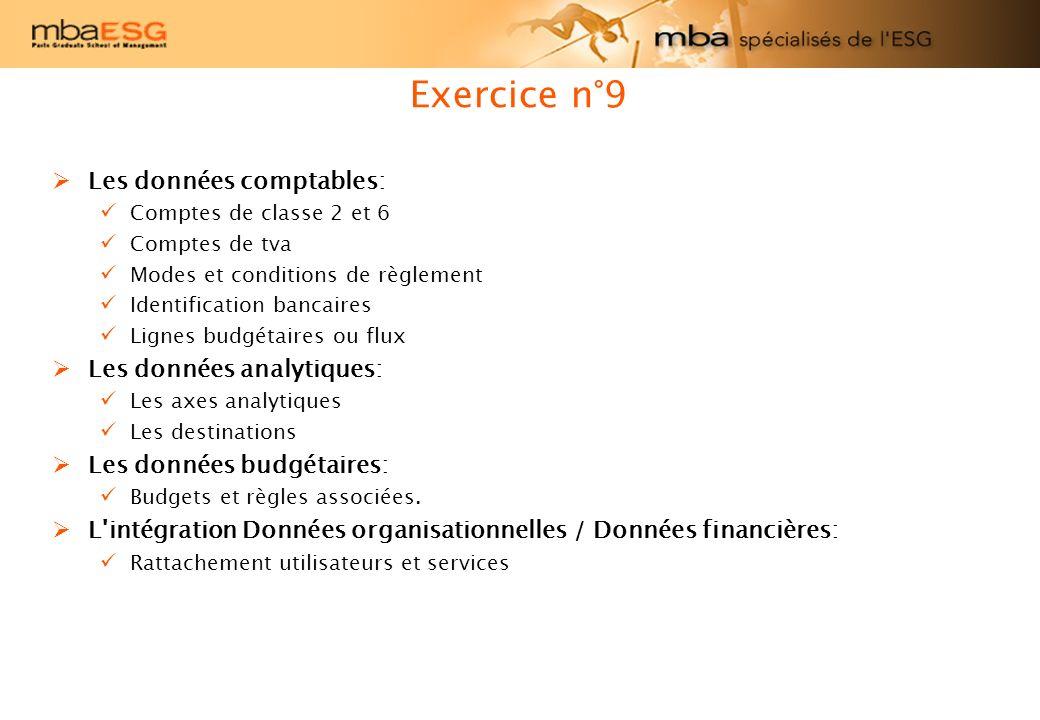 Exercice n°9 Les données comptables: Les données analytiques: