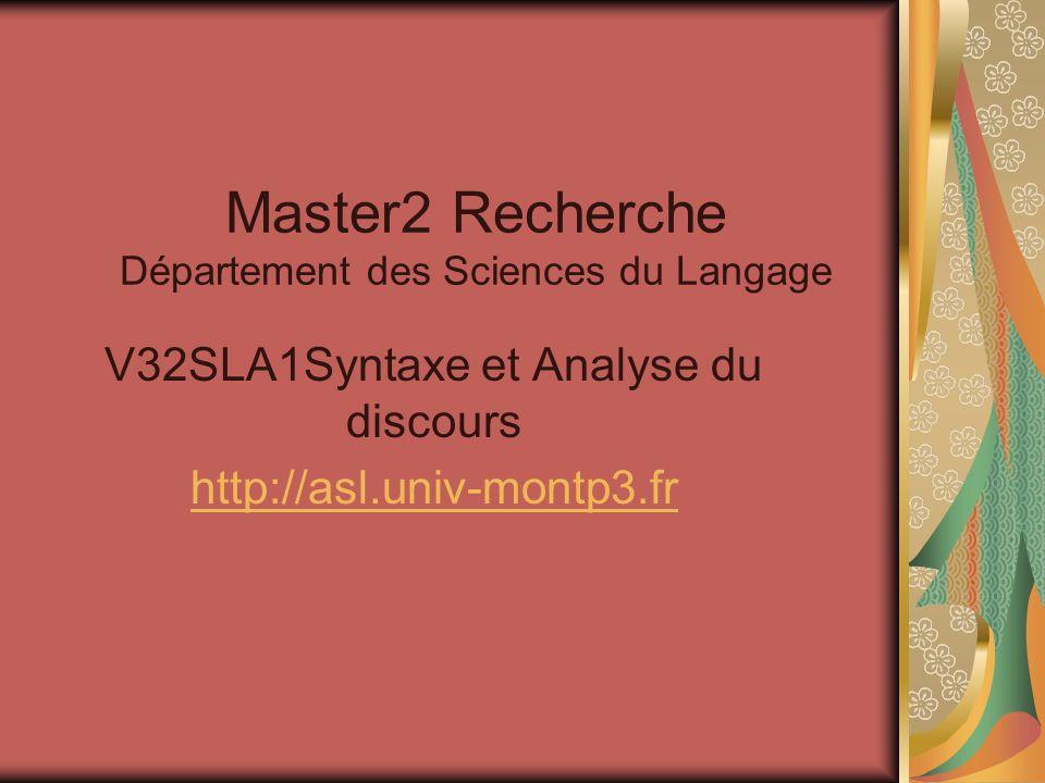 Master2 Recherche Département des Sciences du Langage