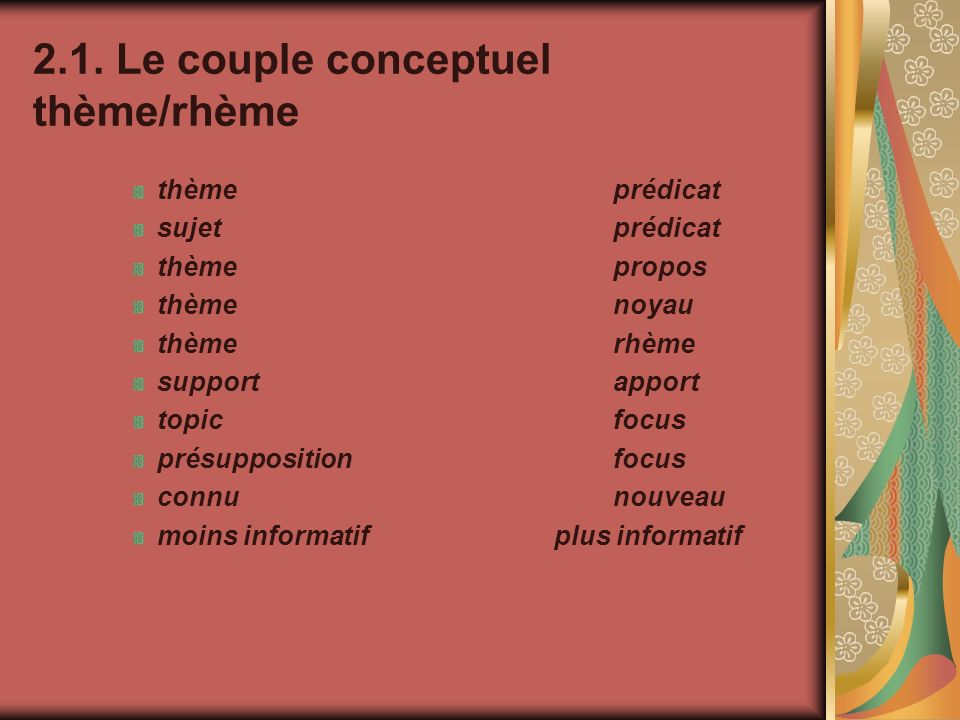 2.1. Le couple conceptuel thème/rhème