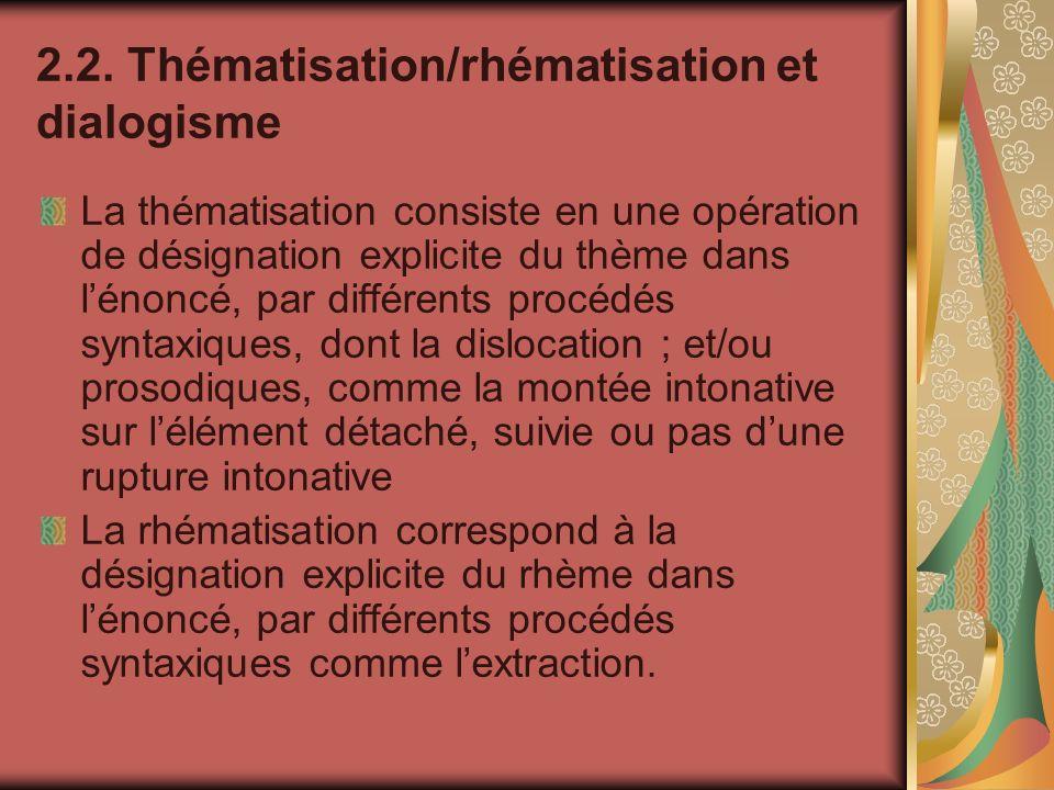 2.2. Thématisation/rhématisation et dialogisme