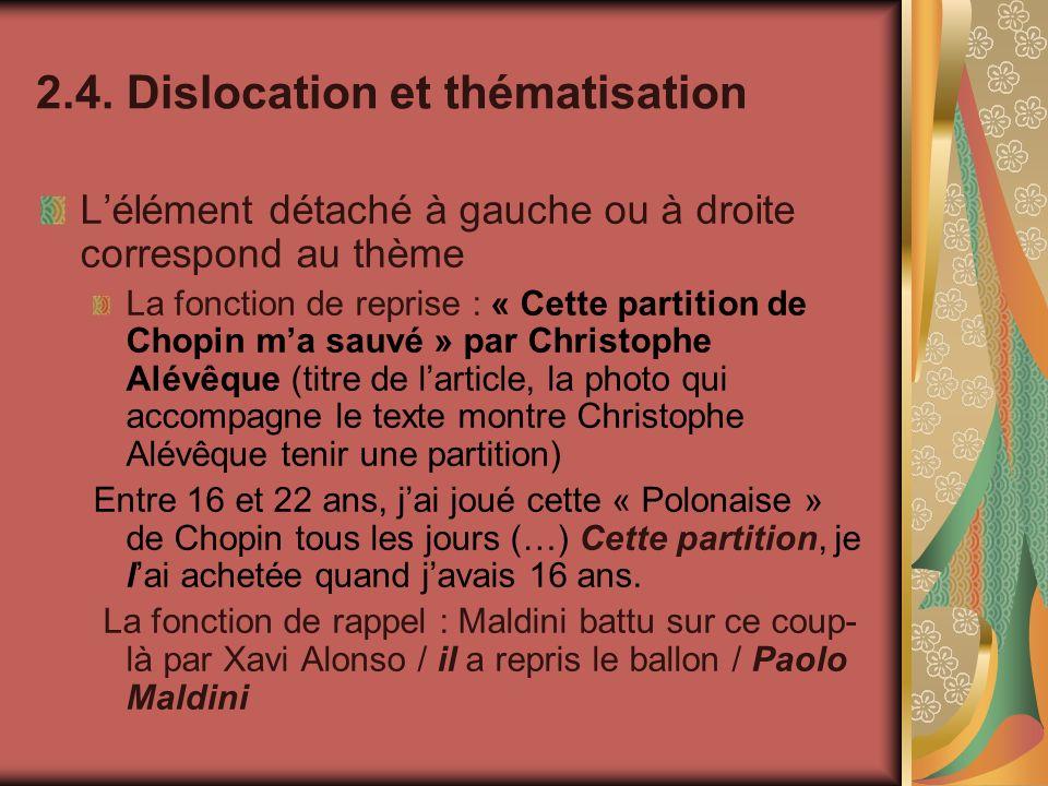 2.4. Dislocation et thématisation