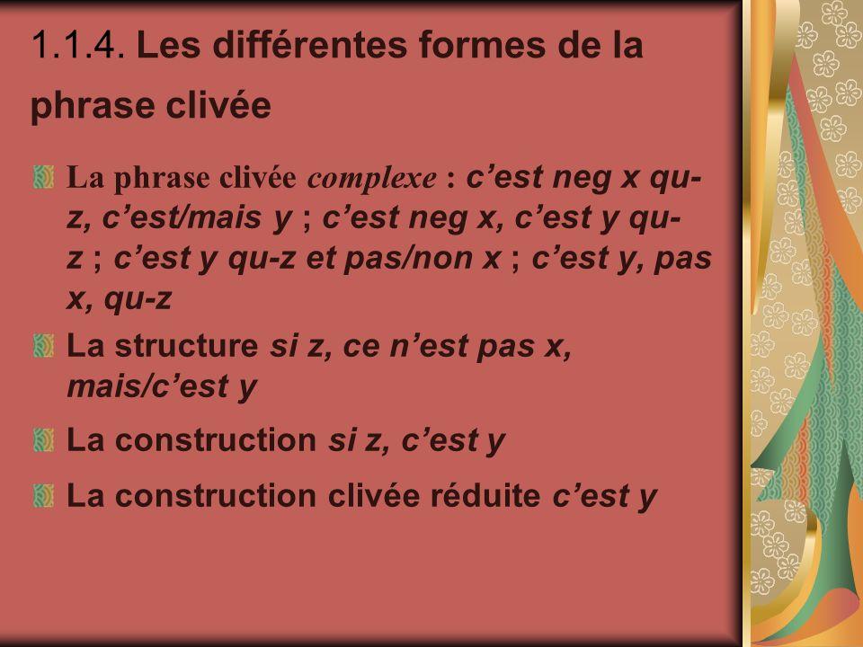 1.1.4. Les différentes formes de la phrase clivée