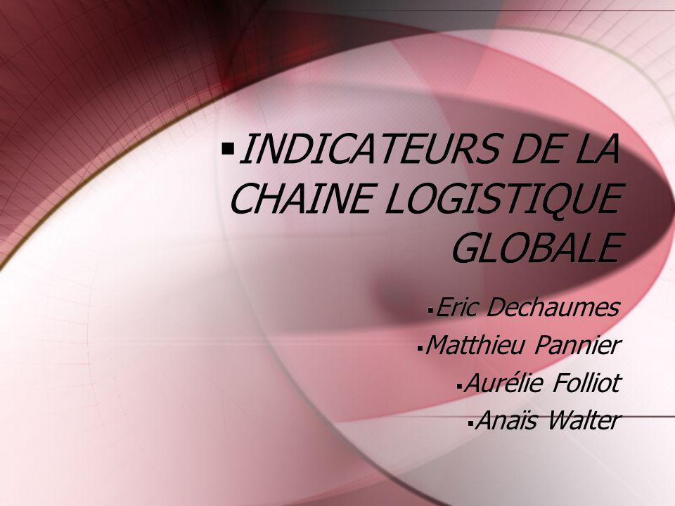 INDICATEURS DE LA CHAINE LOGISTIQUE GLOBALE