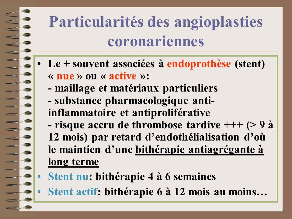 Particularités des angioplasties coronariennes