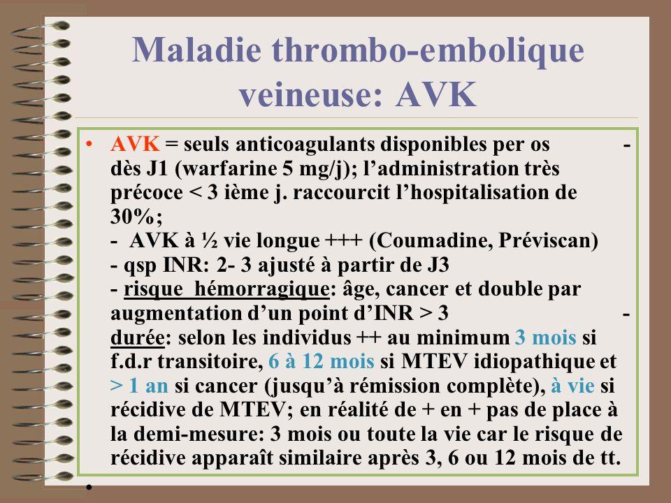 Maladie thrombo-embolique veineuse: AVK