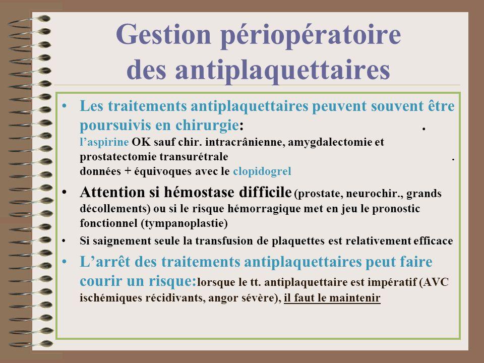 Gestion périopératoire des antiplaquettaires