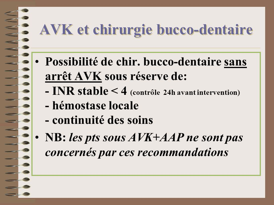 AVK et chirurgie bucco-dentaire