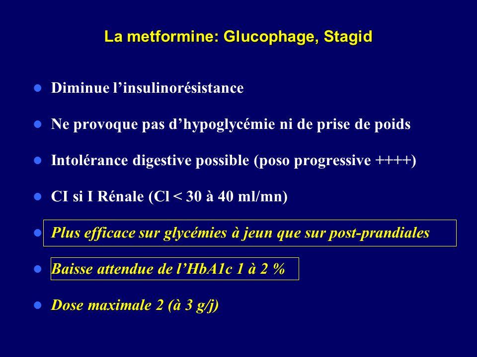 La metformine: Glucophage, Stagid
