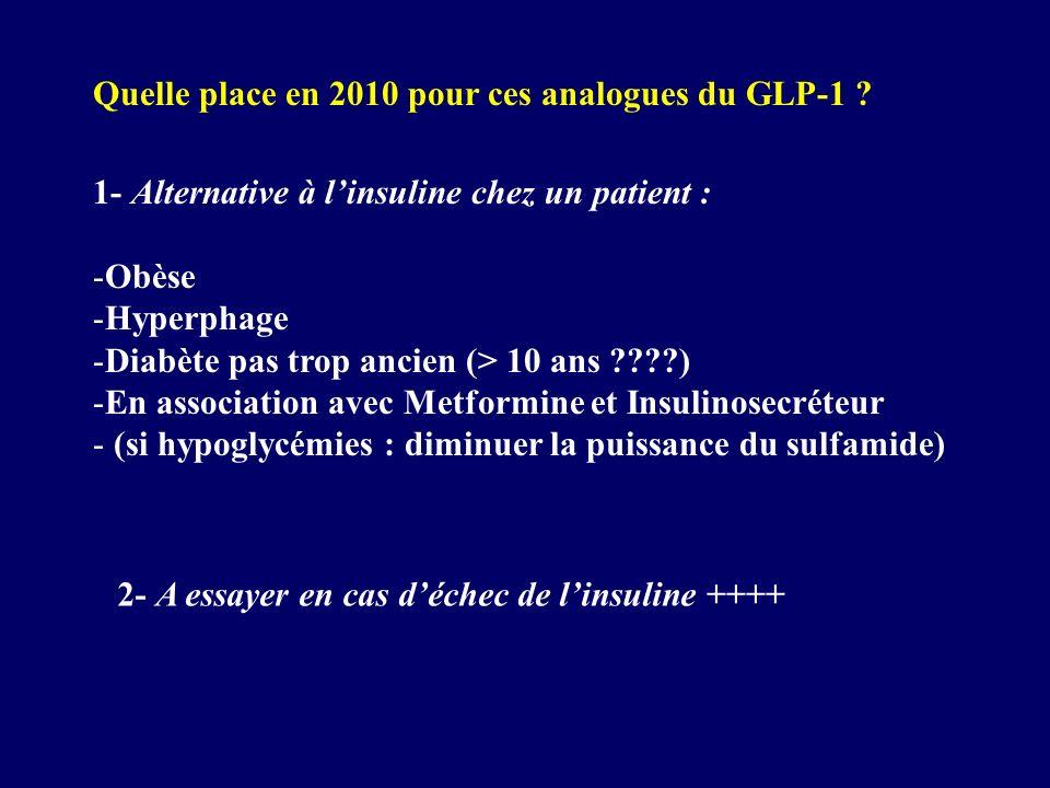 Quelle place en 2010 pour ces analogues du GLP-1