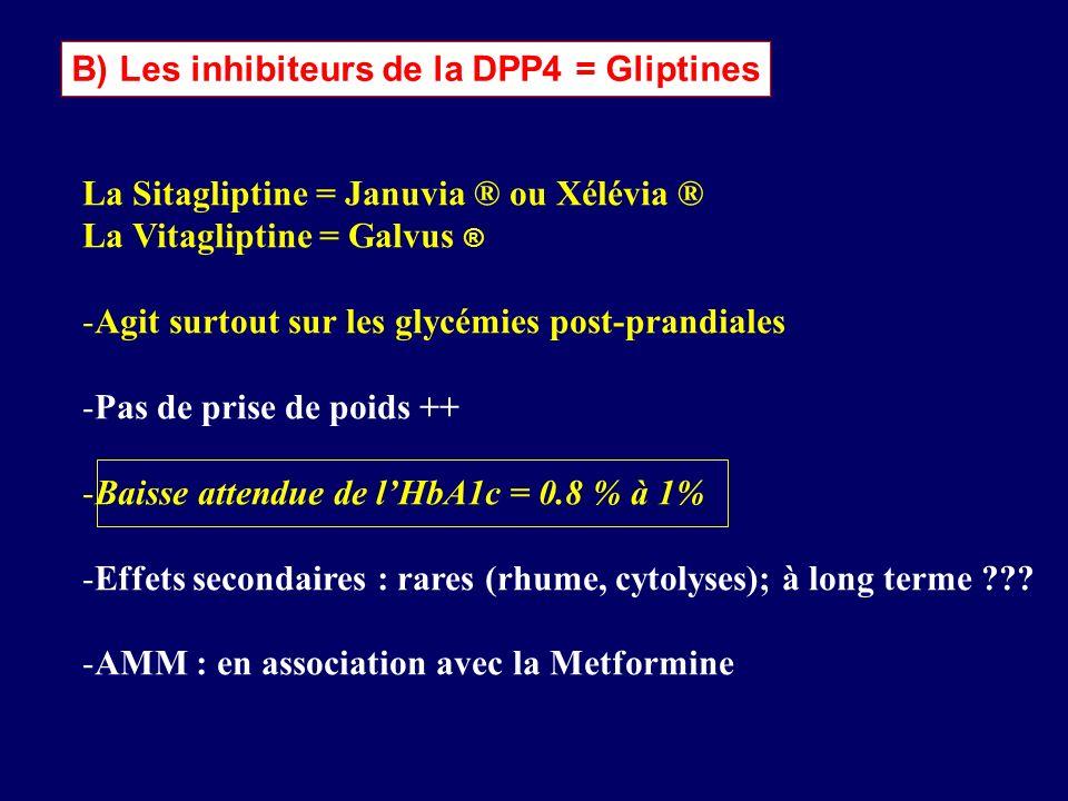 B) Les inhibiteurs de la DPP4 = Gliptines