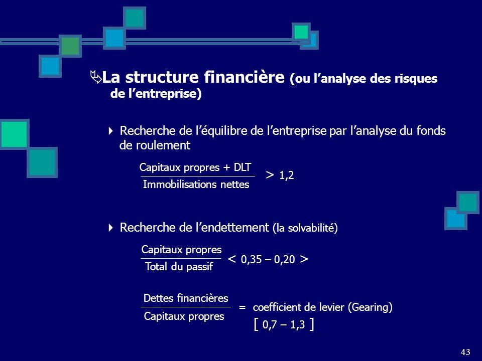 La structure financière (ou l'analyse des risques