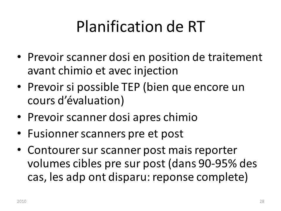 Planification de RT Prevoir scanner dosi en position de traitement avant chimio et avec injection.