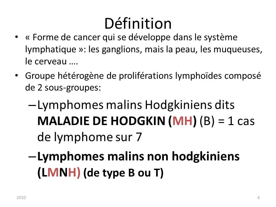 Définition « Forme de cancer qui se développe dans le système lymphatique »: les ganglions, mais la peau, les muqueuses, le cerveau ….