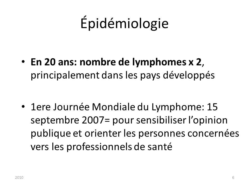 Épidémiologie En 20 ans: nombre de lymphomes x 2, principalement dans les pays développés.