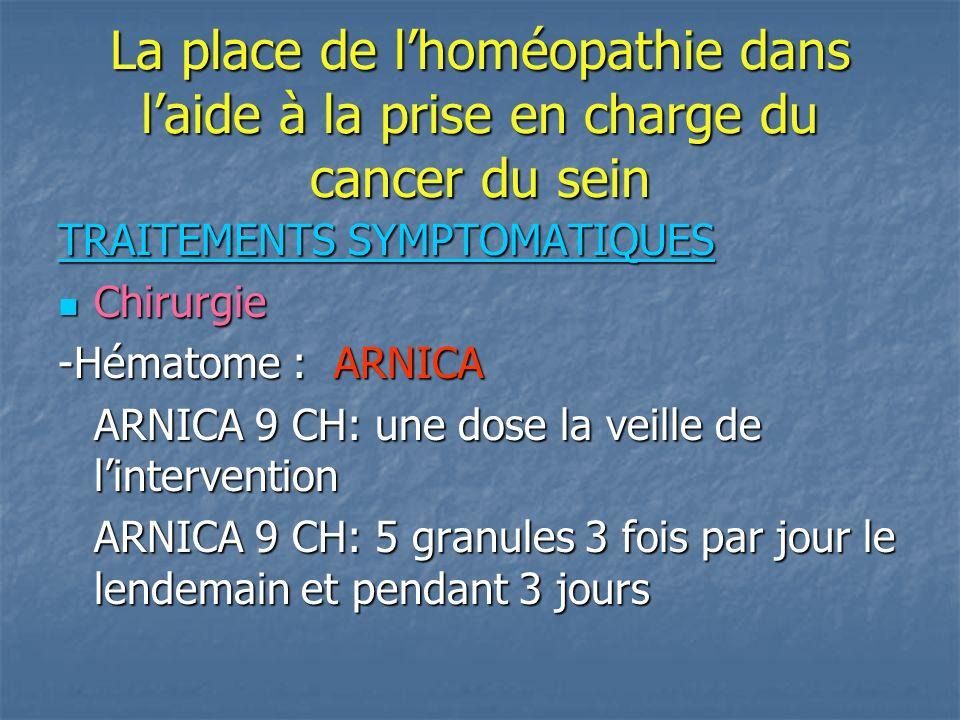 La place de l'homéopathie dans l'aide à la prise en charge du cancer du sein