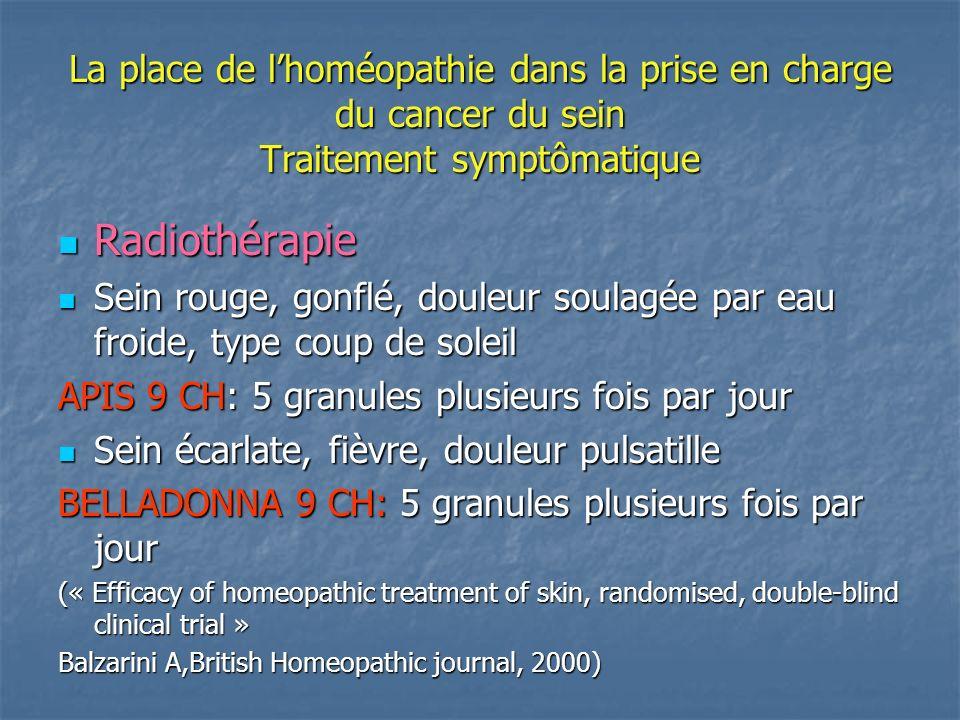 La place de l'homéopathie dans la prise en charge du cancer du sein Traitement symptômatique