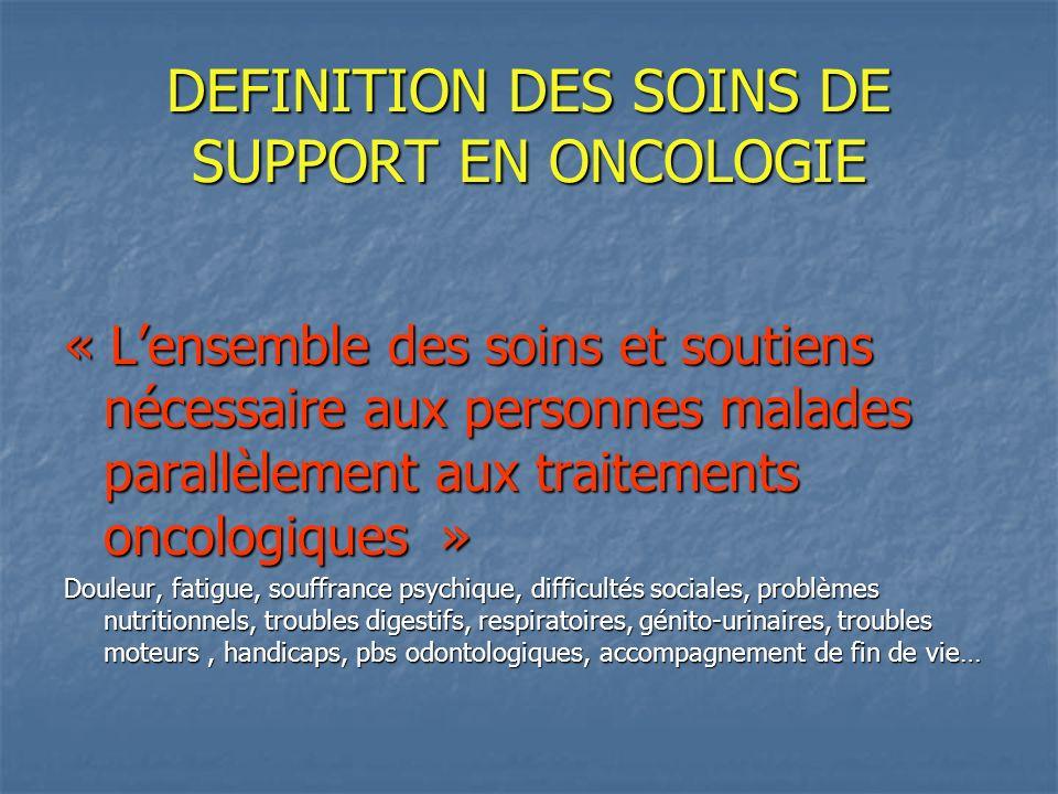 DEFINITION DES SOINS DE SUPPORT EN ONCOLOGIE