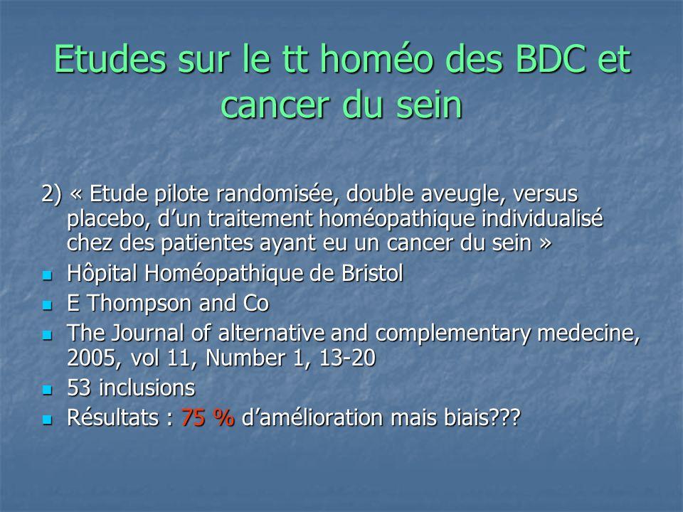 Etudes sur le tt homéo des BDC et cancer du sein