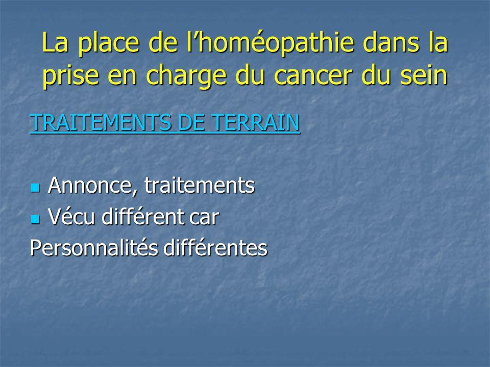 La place de l'homéopathie dans la prise en charge du cancer du sein