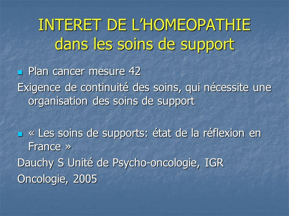 INTERET DE L'HOMEOPATHIE dans les soins de support