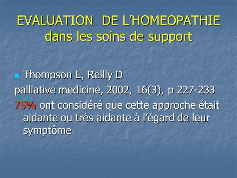 EVALUATION DE L'HOMEOPATHIE dans les soins de support